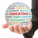 photo of hand holding sphere that says education